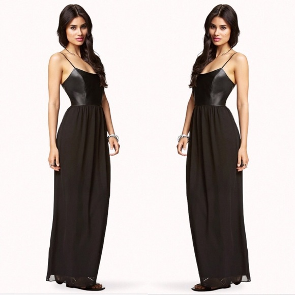 2ec1299949a Forever 21 Dresses   Skirts - F21 Black Leather Chiffon Maxi Dress